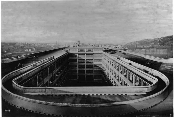 """""""Lingotto"""" - automobilių gamykla ant kurios stogo buvo lenktynių trasa (8)"""