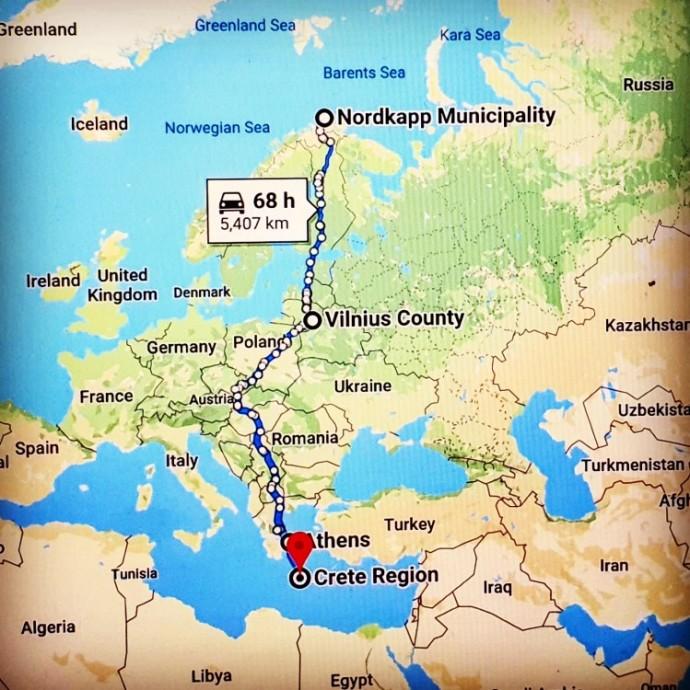 Vitoldo Miliaus kelionės maršrutas