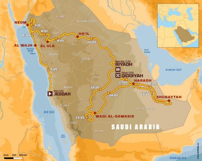 2020-ųjų Dakaro ralio maršrutas