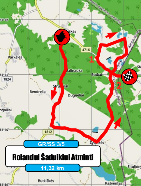 Elektrėnų ralio žemėlapis - D.Butvilo rekomendacijos - GR3-5