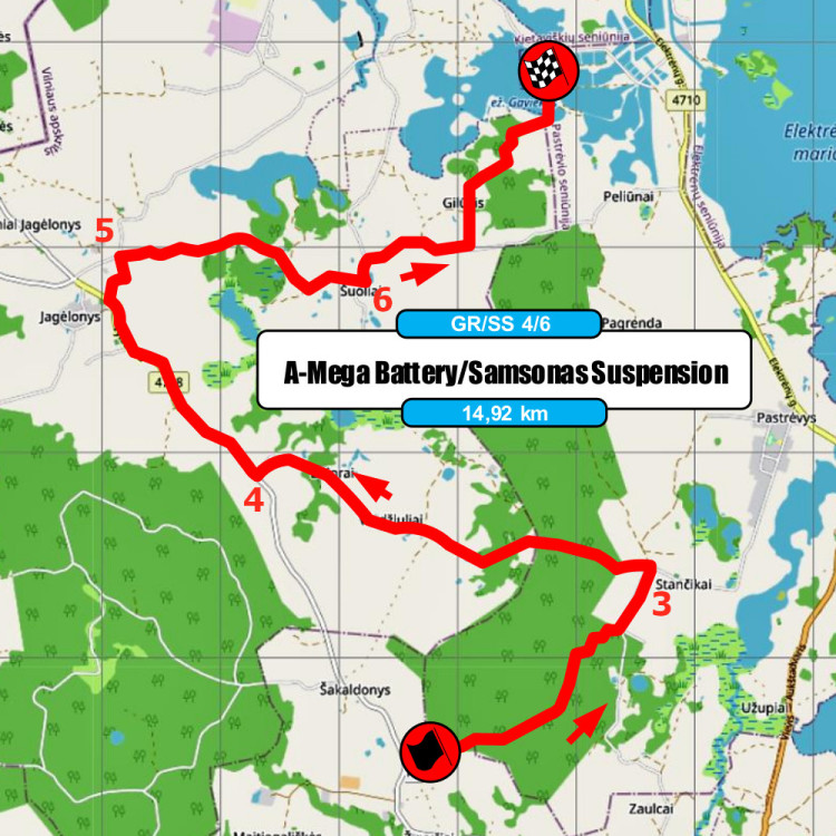 Elektrėnų ralio žemėlapis - D.Butvilo rekomendacijos - GR4-6