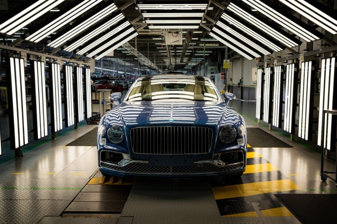 "V8 version of ""world's best luxury four door grand tourer"" now in full production at Bentley's home in Crewe"